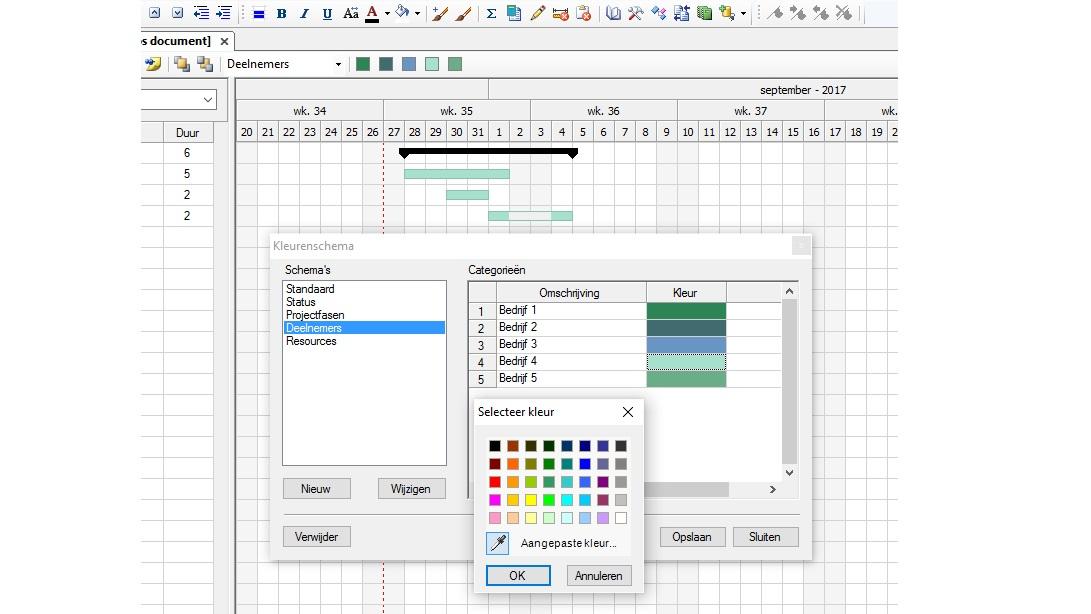 Planning kleurenschema